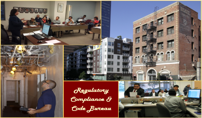 Image of workshop presentation, a residential building, counter staff, and an inspector.