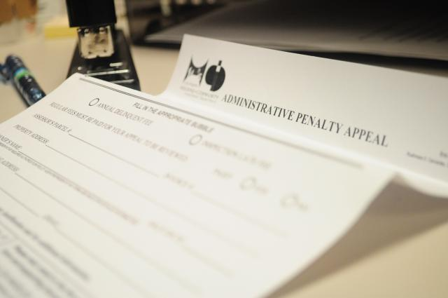Administrative penalty appeal document on a desk