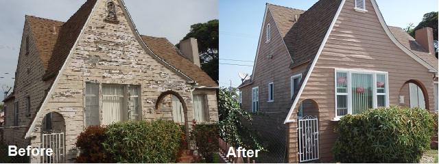 Before photo on the left displays an exterior of a single-family house with lead hazard, peeling paint. After remediation photo displays the single-family house with fresh paint.