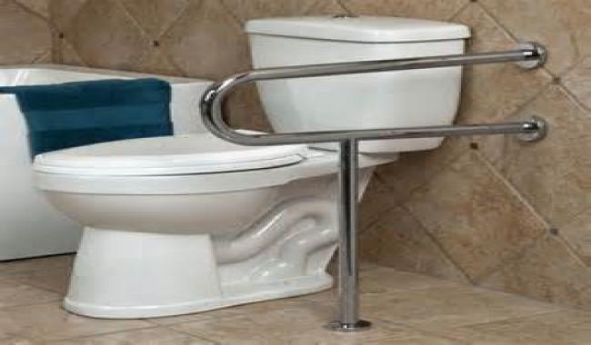Accessible toilet with grab bars
