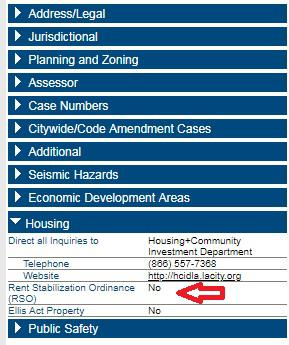 A red arrow pointing within Zimas showing if your unit is subject to Rent Stabilizationi Ordinance.