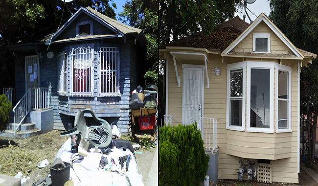 Before and after picture of a foreclosed home. Before picture has a lot of junk in the front yard. After picture, new paint job.