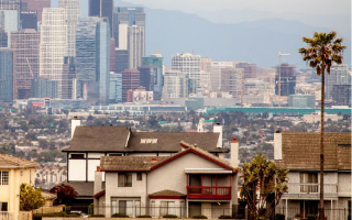 view of downtown Los Angeles and nearby homes