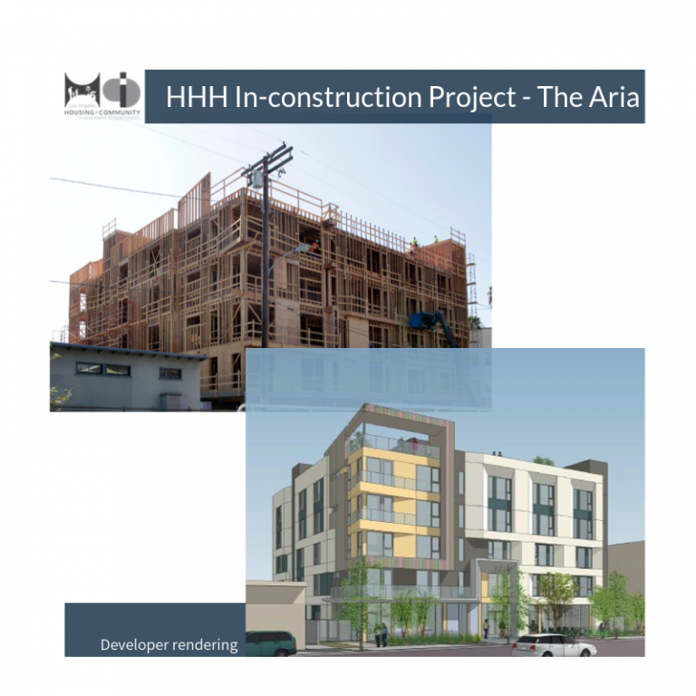 Architectural rendering and framed construction of the Aria affordable housing