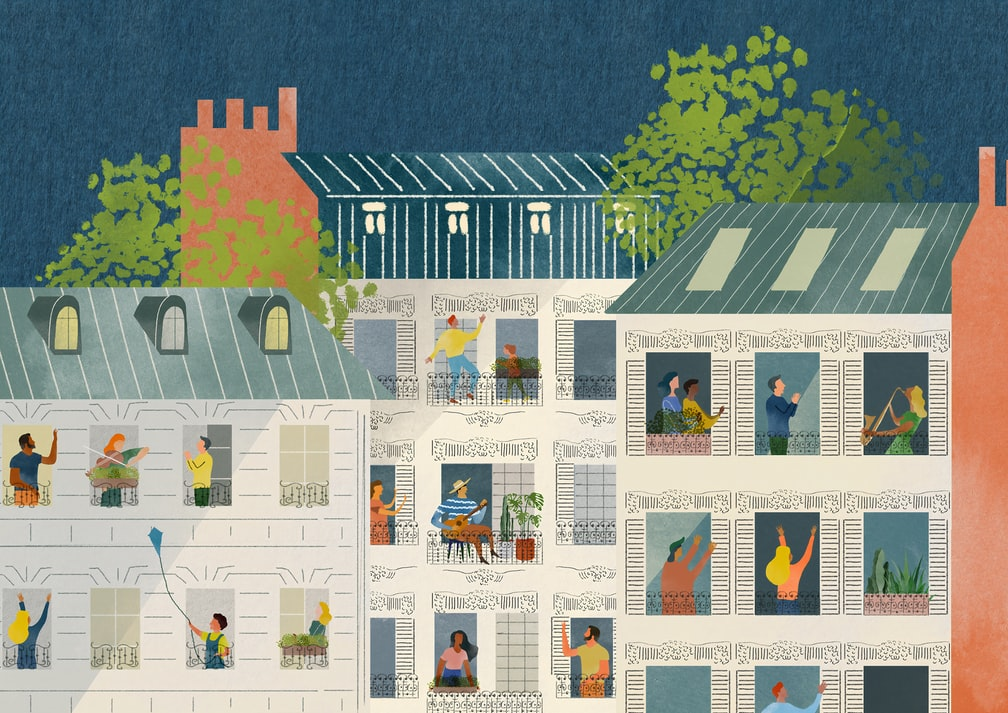 Decorative cartoon image of apartment complex with people at windows.